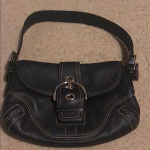Small all black leather coach purse